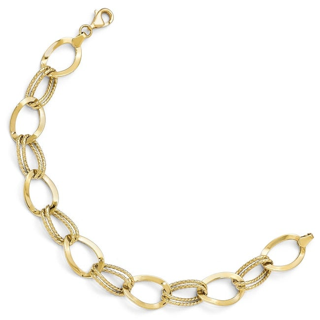 10k Gold Polished and Textured Link Bracelet - 7.5 inches